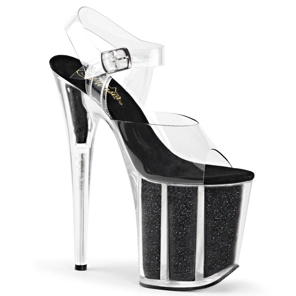Pleaser FLAMINGO-808G Womens Sandal B017LOHQUE 12 B(M) US|Clr/Blk Gltr