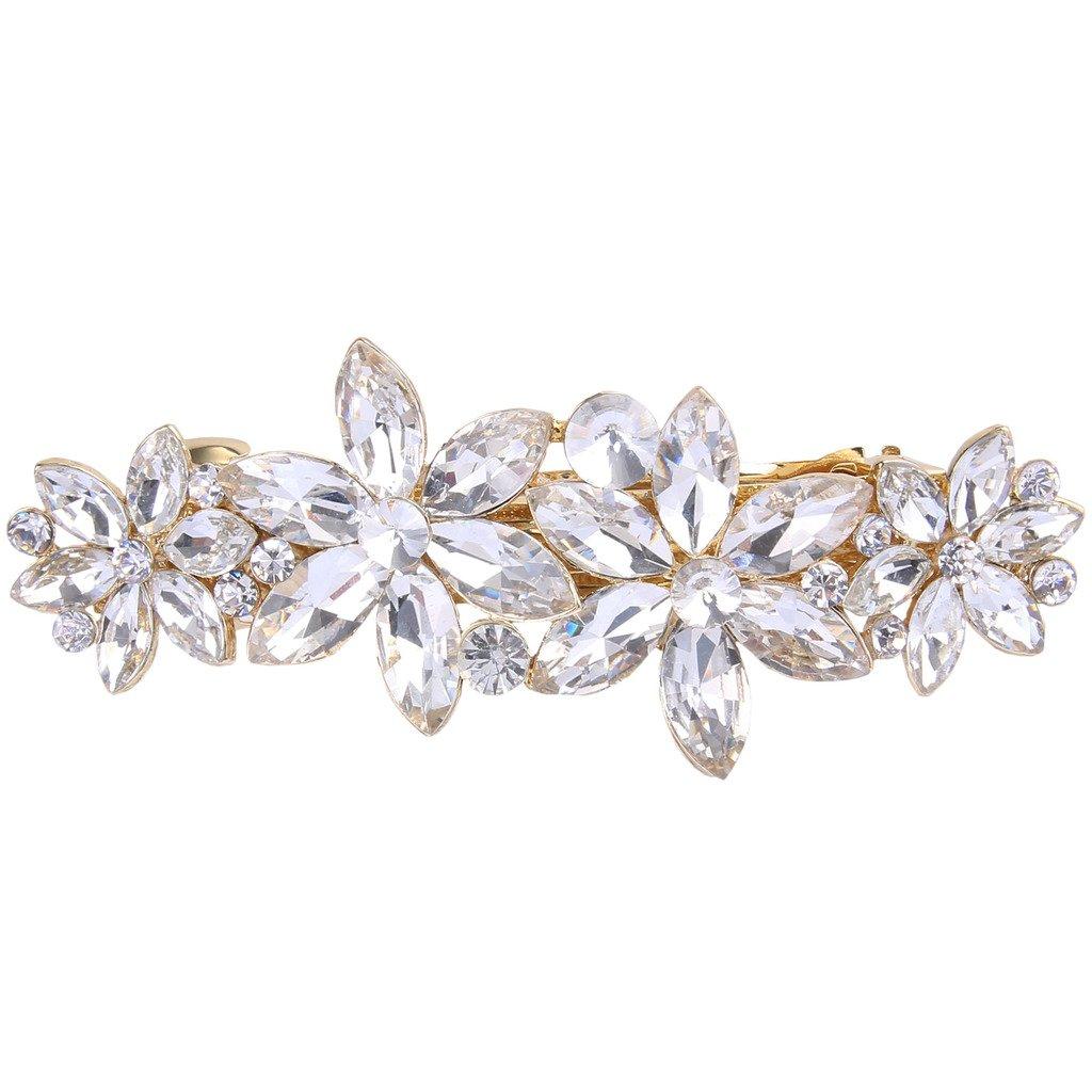 Ever Faith Wedding 4 Daisy Flower Hair Clip Barrette Austrian Crystal Clear