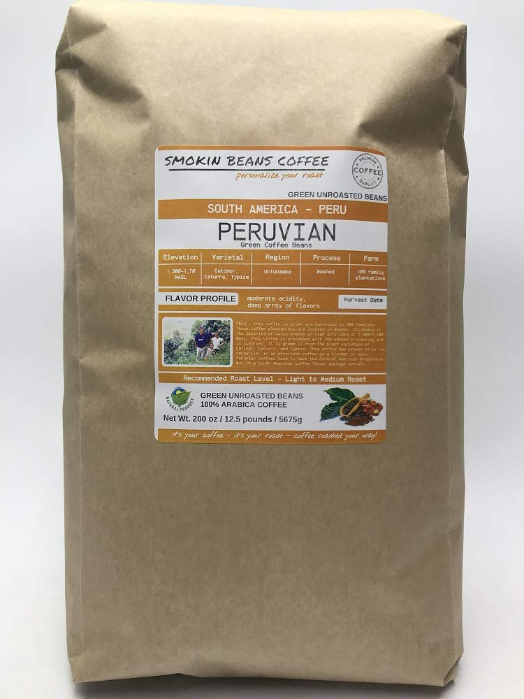 12.5 Pounds - South American - Peru - Unroasted Arabica Green Coffee Beans - Grown Region Uctubamba - Altitude 1300-1700M - Catimor, Caturra, Typica - Drying/Milling Process Washed by Smokin Beans