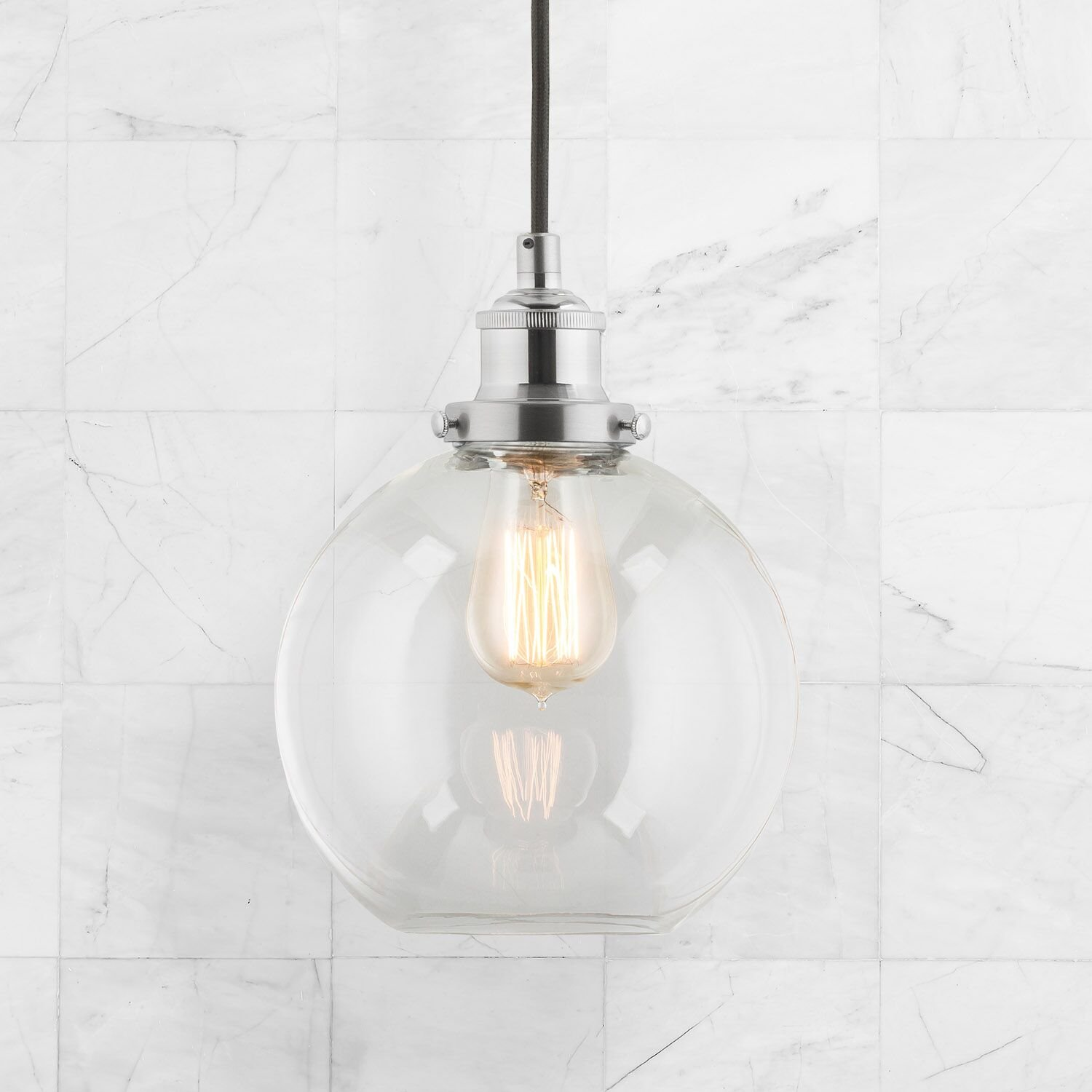 Primo Industrial Kitchen Pendant Light Brushed Nickel