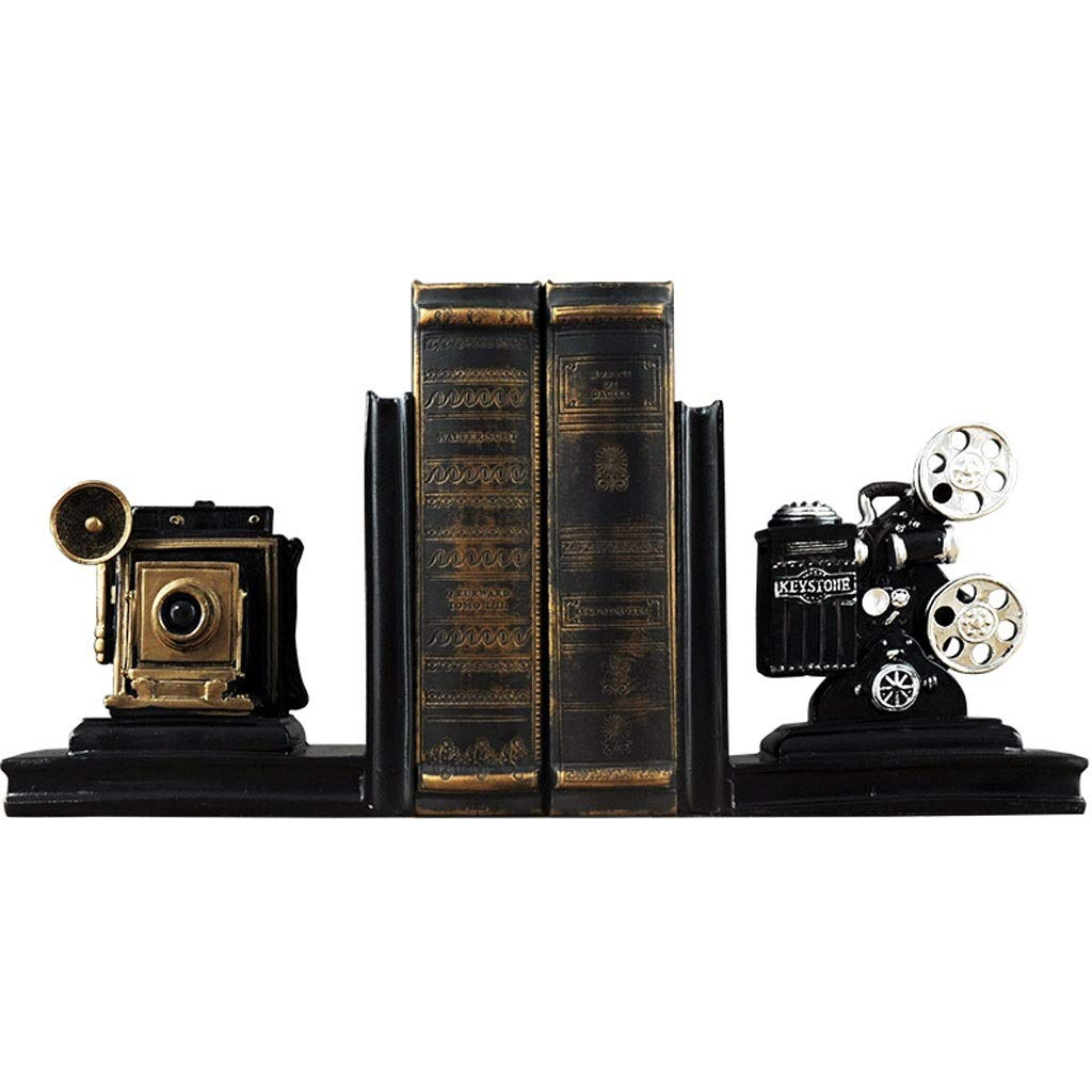 Kiter Bookends A Pair Creative Synthetic Resin Bookends Shelf Retro Camera Bookends Holder Office Supplies Home Decoration Book Stand Book Stand (Color : A) by Jixi-Bookends