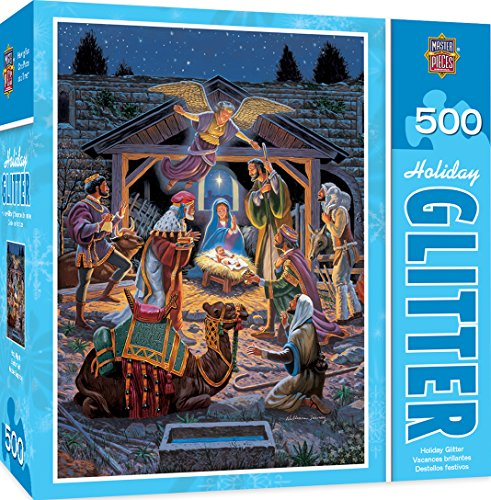 MasterPieces Holiday Glitter Jigsaw Puzzle, Holy Night, 500 Pieces