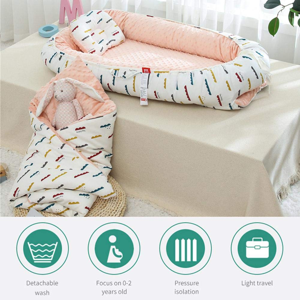 Pawaca Portable Baby Nest,Soft Washable Removable Cover Baby Bionic Bed,Baby Nest 100/% Cotton Breathable and Hypoallergenic Newborn Lounger Perfect Bedroom//Travel Camping,0~3year