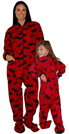 Amazon.com: Lazy One Classic Moose Red Family Matching Footed ...