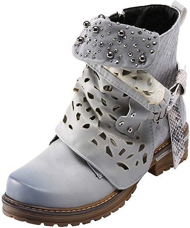 ZEZKT Bottes Femme, Martin Boots Bottes en Cuir Bottines à