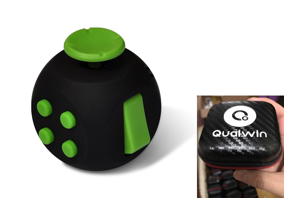 Qualwin 2017 Best NEW Upgraded Version Fidget Cube, Anti-anxiety and Depression Cube for Children and Adults (Black/Green)