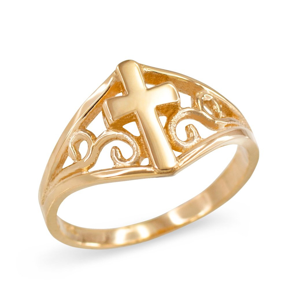 Filigree Cross Ring for Women in Fine 14k Yellow Gold (Size 7.5)