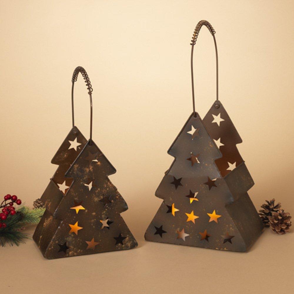 Gerson Metal Rustic Tree Luminaries Set Of 2 Christmas Home Decor