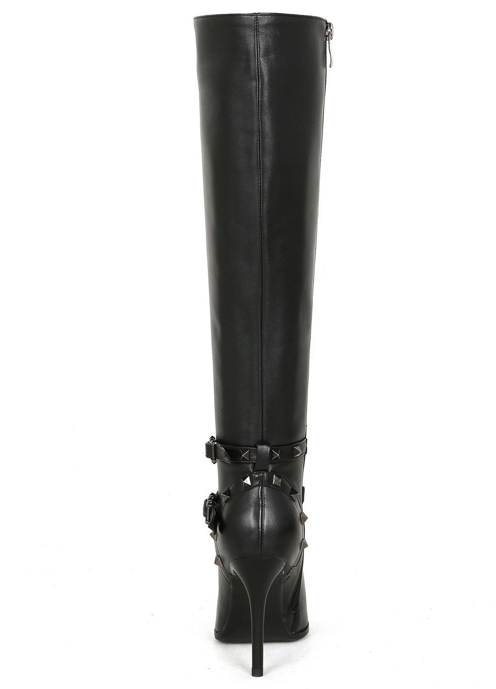 Nine Seven Genuine Leather-Women's Rivets Pointed Toe-HIgh Stiletto Heel-Handmade Rivets Leather-Women's Strappy Dressy Sexy Knee High Boots B075CZH4LR 10 M US|Black 410c21