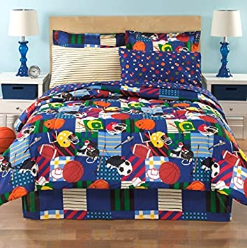Amazoncom Sports Baseball Football Soccer Blue Boys Kids Twin - Boys sports bedding sets twin