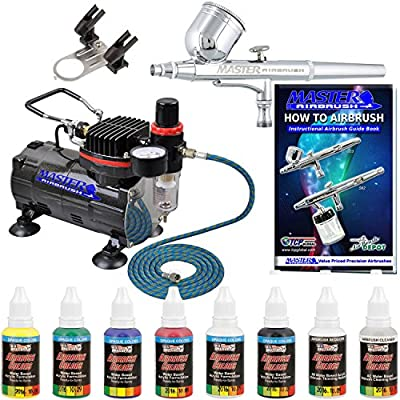 Master Airbrush Complete Airbrush System with Paint. G22 Airbrush, Air Compressor, 6' Air Hose, 1-oz Bottles of U.S. Art Supply Premium Artist Paint in Black, Red, Blue, Yellow, Green & White. The Kit Now Includes a How to Airbrush Training Book to Get Yo