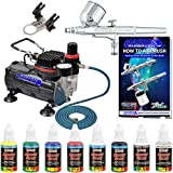 Professional Master Airbrush Multi-Purpose Gravity Feed Airbrushing System Kit with a U.S. Art Supply 6 Primary Opaque Colors Acrylic Paint Artist Set - G22 Gravity Feed Airbrush and Air Compressor