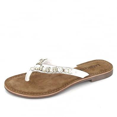 pour Mules blanc Lazamani Chaussures Weiß et Femme ZFTw8nq