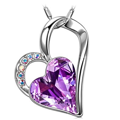 6f5100c46 SIVERY Eternal Love' Women Heart Necklace with Purple Swarovski Crystal,  Jewelry for Women