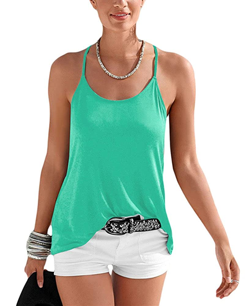 f991917bb97b Women s Tanks Sexy Stylish Strappy Back Detail Summer Top Tank-top Cami- shirts ((US 8-10)M