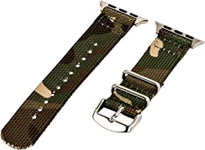 Clockwork Synergy - 2-Piece Classic Nato Nylon Watch Bands for 42mm Apple Watch (Army CAMO)