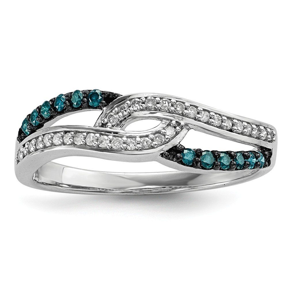 Sterling Silver Blue and White Diamond Anniversary Band for Women Size 7 (0.25ct, SI2)