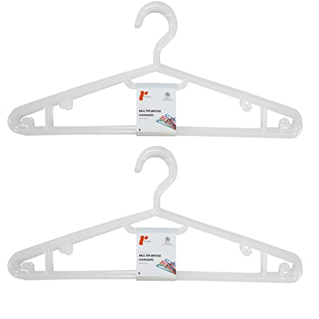 H /& L Russel Ltd Tubular White Translucent Plastic Hangers with Skirt Notches and Turnable Hook Set of 10 Adult Size