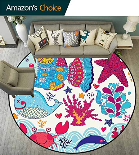 Whale Round Rug Hallway,Funny Fishes Starfish Coral Crab Underwater Life Waves Marine Clipart Illustration Suitable for Bedroom Home Decor,Multicolor,D-59 ()