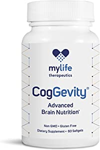 CogGevity® Advanced Brain Nutrition | The ONLY Patented Nootropic Supplement to Improve Focus, Memory, Mood & Energy | 60 Softgels | Backed by Science
