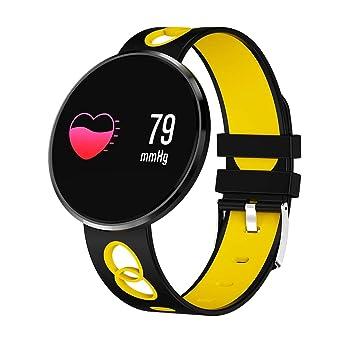 QTEC Reloj Inteligente Silicona Amarilla Relojes Inteligentes Mujeres Hombres Reloj Pulso Monitor de oxígeno en Sangre Pulsera Inteligente Muñeca Presión ...