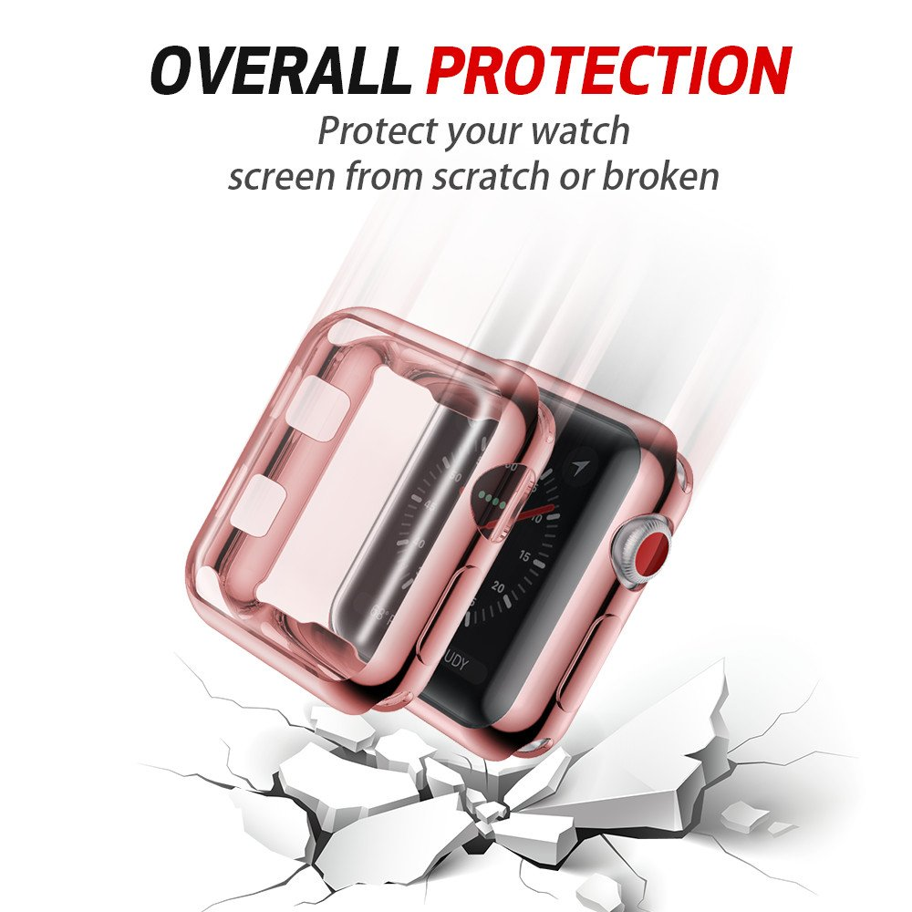 Smiling Apple Watch 3 Case Buit in TPU Screen Protector All-Around Protective Case High Defination Clear Ultra-Thin Cover for Apple Watch 38mm Series 3 and Series 2 (Rose-Pink, 38mm) by smiling (Image #4)