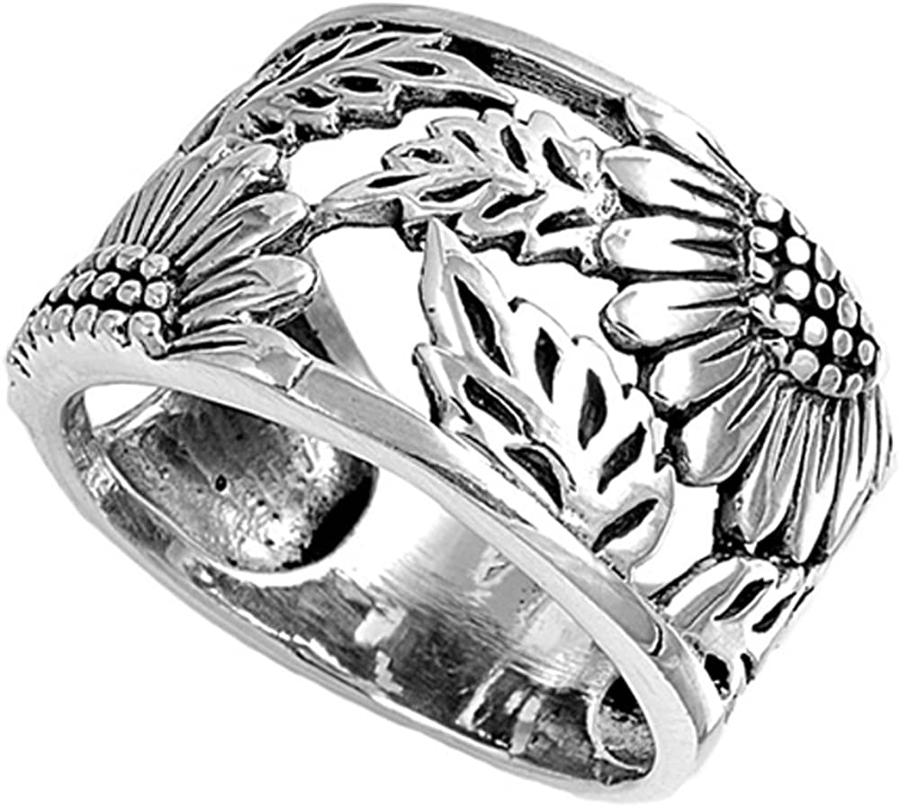 Sterling Silver 14K Gold Plated Sunflower Band Anniversary Ring 14mm (Size 5 to 12)