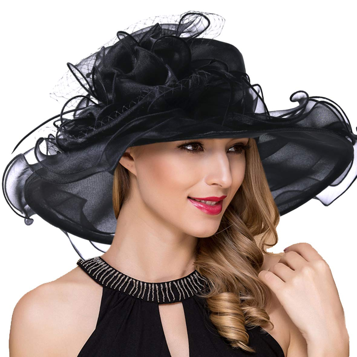 Women Kentucky Derby Church Dress Fascinator Wide Brim Tea Party Wedding Organza Hats S042b (S042-Black)
