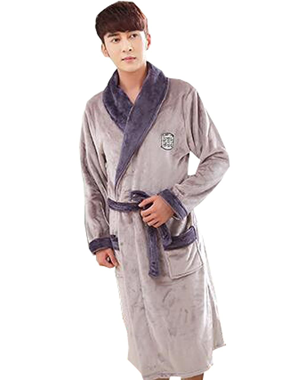 Only Faith Mens coral velvet thickening pajamas flannel nightgown bathrobe