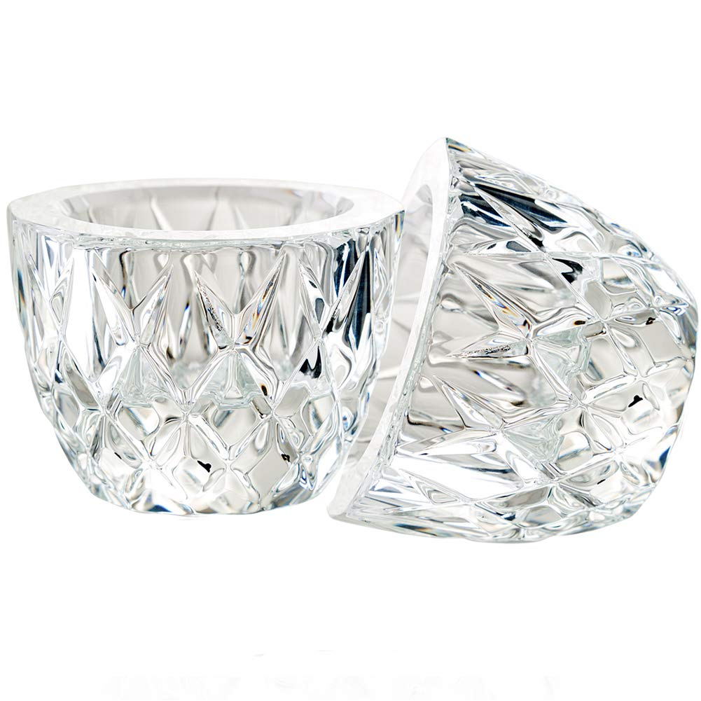 DONOUCLS Crystal Tealight Candle Holder Pack of 2 Party Dinner Hand-Cut 2.4 X 1.7 Clear