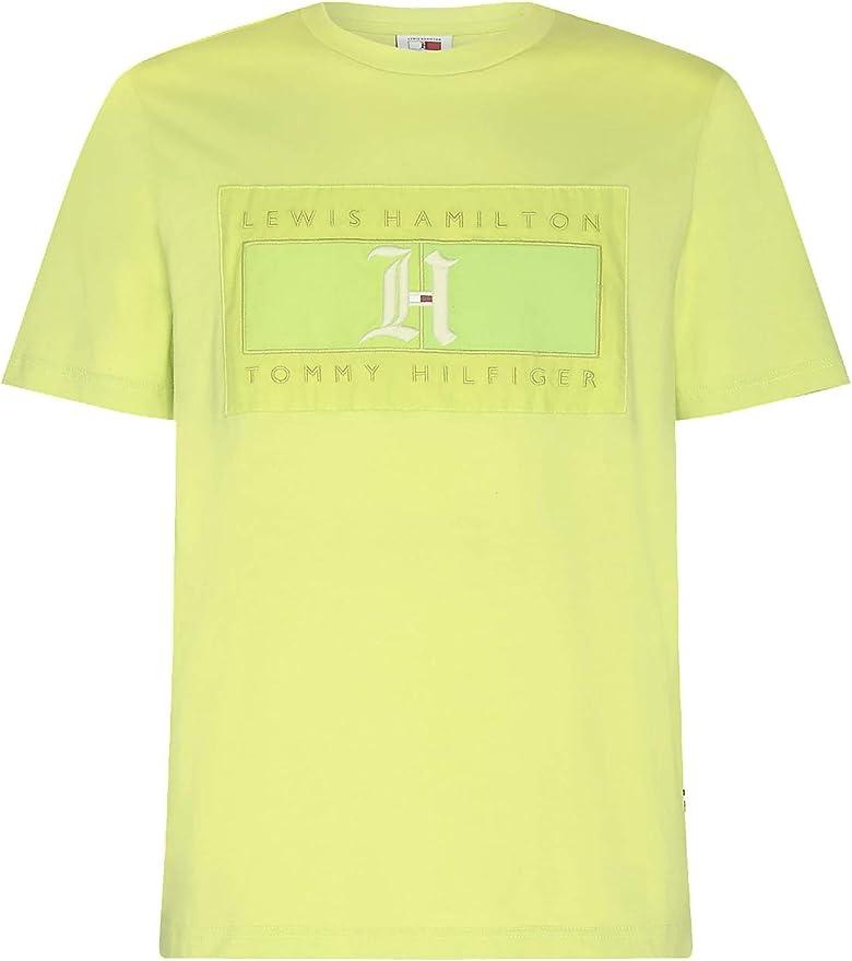 Tommy Hilfiger X Lewis Hamilton - Camiseta para hombre, color amarillo neón con logotipo en tonos: Amazon.es: Ropa y accesorios