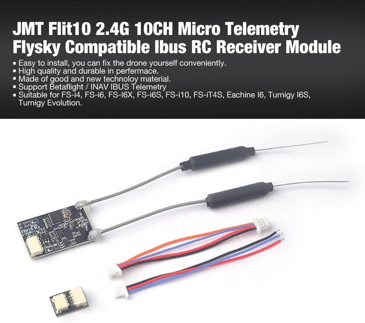 Kongqiabona-UK JMT Flit10 2.4G 10CH Micro-telemetría Receptor RC Ibus Compatible con Flysky FS-i6S Turnigy Evolution RC FPV Drone para FS-I6X