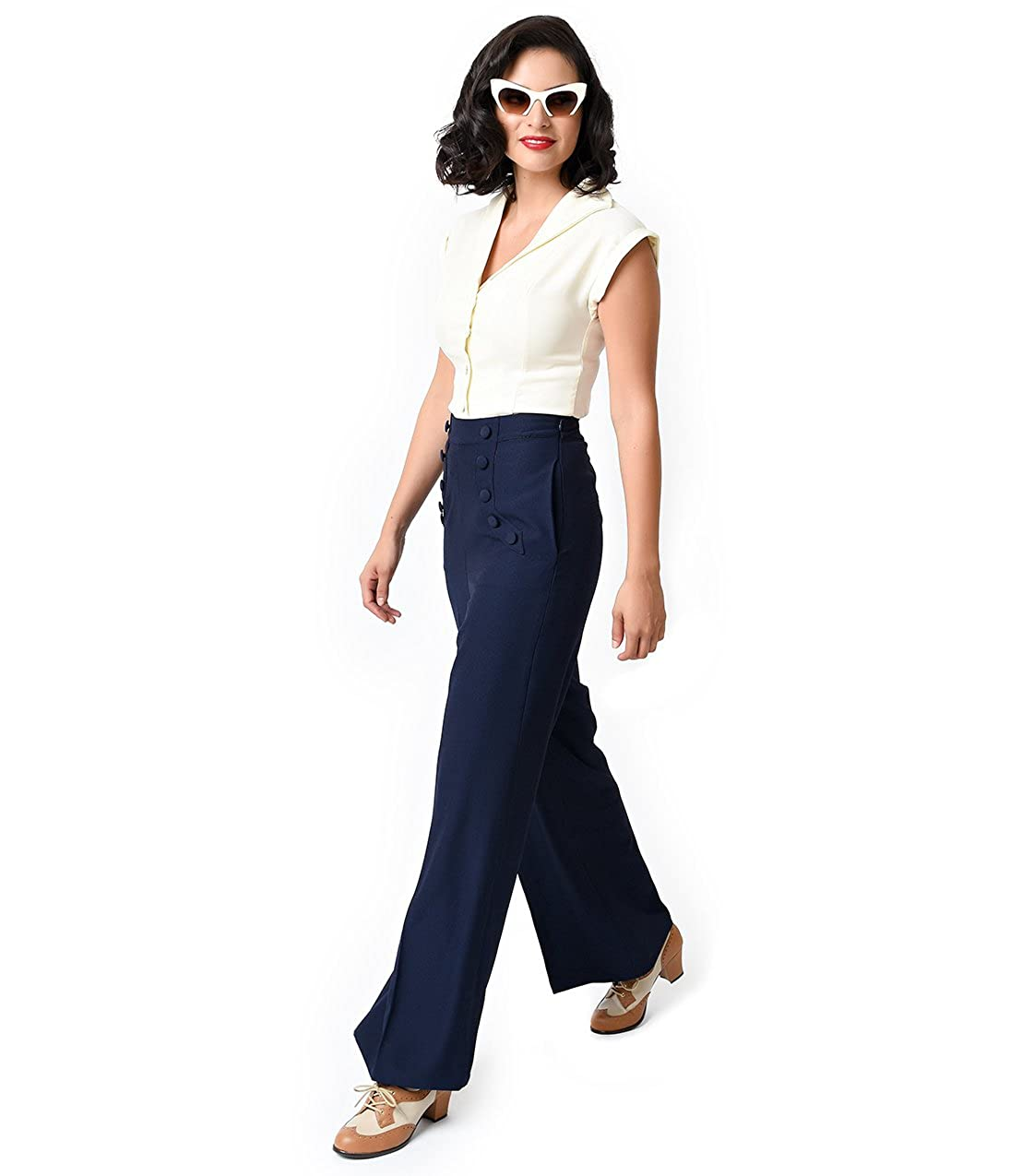 717af96f6 Unique Vintage Banned 1940s Navy High Waist Crepe Full Moon Sailor Pants at  Amazon Women's Clothing store:
