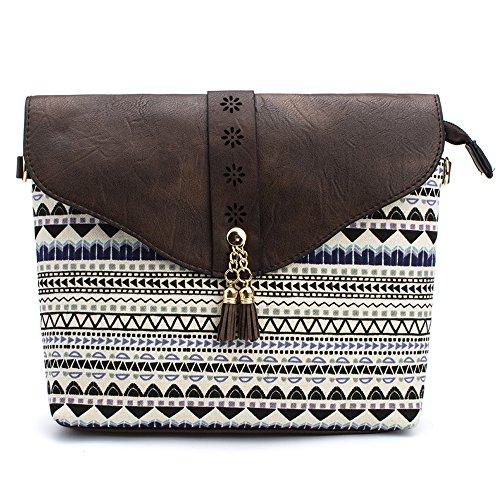 Medium Crossover (DukeTea Womens Medium Crossbody Purse Bag with Multicolored Print & Flap Top Coffee)