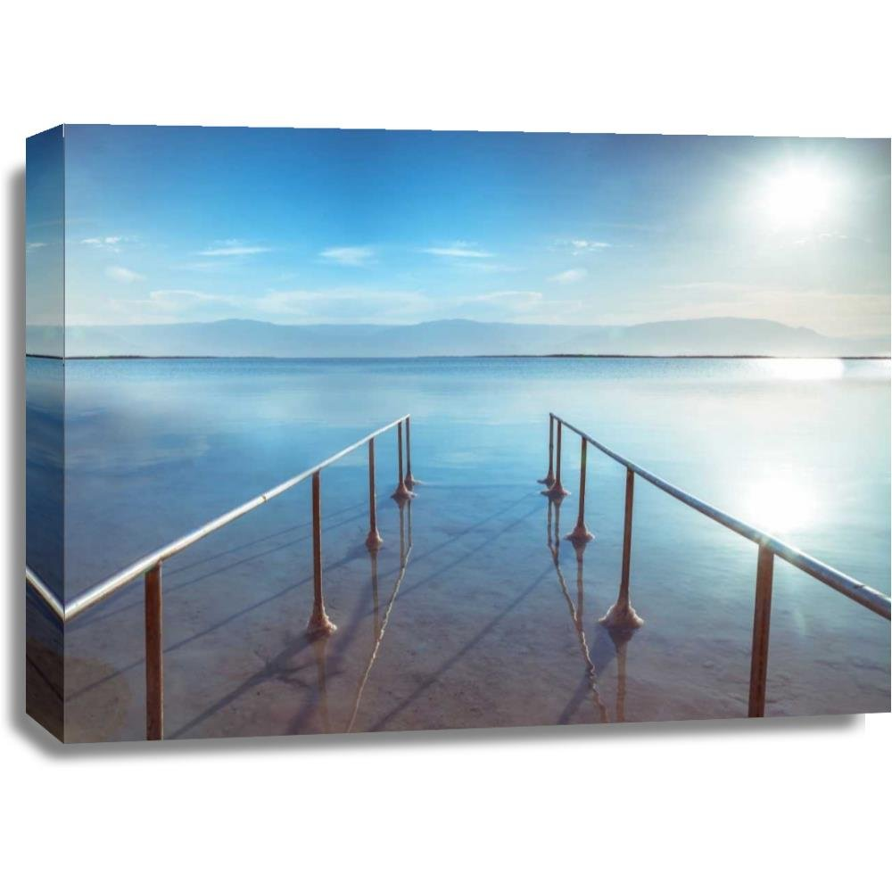 Print Mint The Canvas Print Wall Art - Assaf Frank - Peir on Dead Sea, Israel - Coastal Nature Tropical Artwork on Canvas Stretched Gallery Wrap. Ready to Hang - 32x24″ by Print Mint