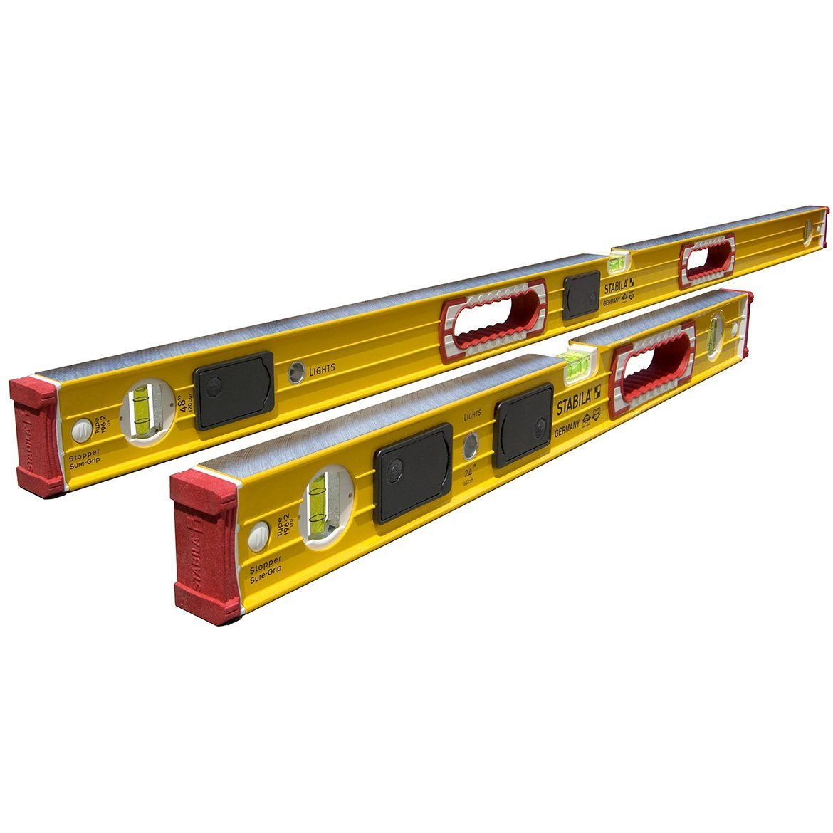 Stabila Level Set Kit Type 196-2 LED 48'' and 24'' Levels with Lighted Vials by Stabila (Image #1)
