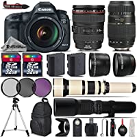 Canon EOS 5D Mark III DSLR Camera + Canon 24-105mm IS USM Lens + Tamron 70-300mm Di LD Macro Lens + 650-1300mm Telephoto Lens + 500mm preset Zoom Lens - International Version