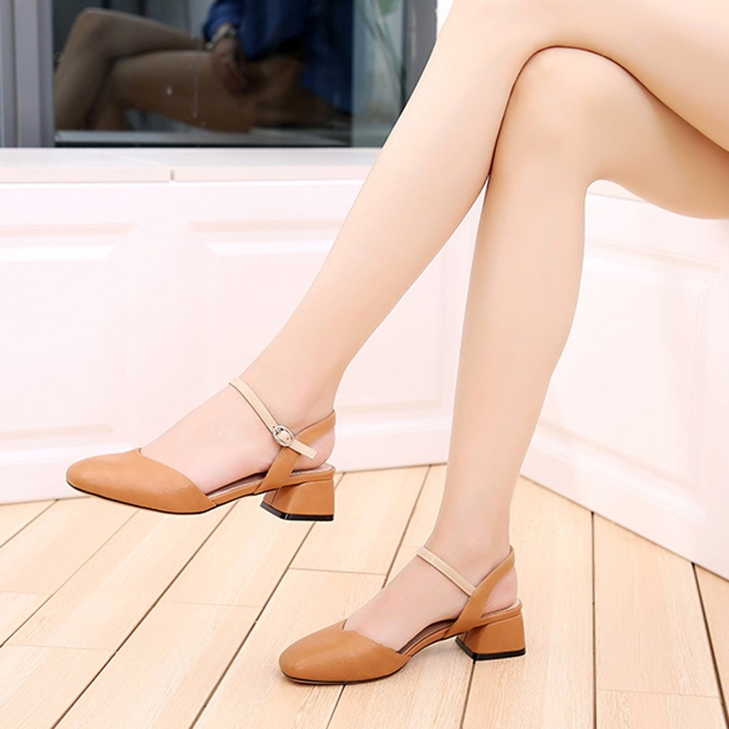 Hyun Times Hochhackige Sandalen Baotou Weibliche Sandalen Lässig Hohl Lässig Sandalen 4,5 cm mit Grob mit Damenschuhen Yellow Braun 563172
