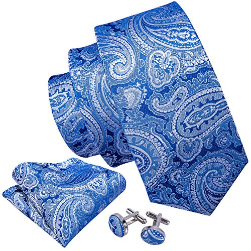 Barry.Wang Paisley Ties for Wedding Business Handkerchief Cufflink Blue