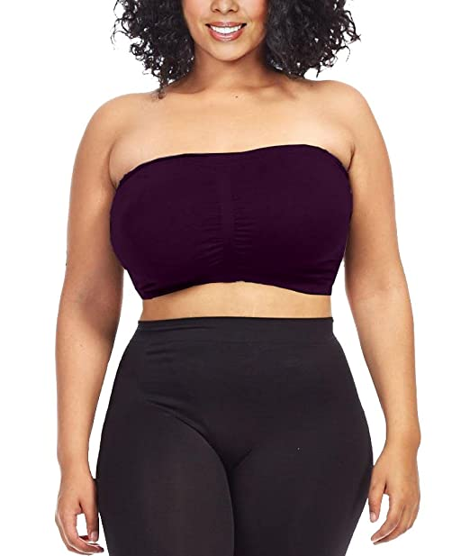 76ab611375f Dinamit Women s Plus Size Seamless Padded Bandeau Tube Top Bra Aubergine S-M