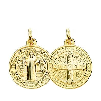 fe1586d603f Medalla oro 18k San Benito 18mm.  AB3805   Amazon.es  Joyería