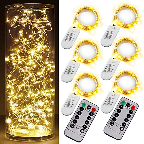 6 PCS Fairy String Warm White Changing Twinkle Lights with 2 PCS Remote, 6.5ft 20 LED's,CR2032 Battery Powered, Indoor Decorative Silver Wire Bedroom,Patio,Outdoor Garden,Stroller (Lights With Remote Control)