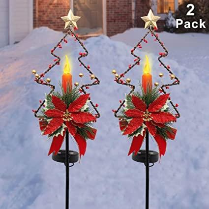 Maggift 32 Inches Solar Christmas Decorations Outdoor Led Solar Powered Candle Xmas Pathway Lights Metal Garden Stakes Lawn Yard Ornament Set Of 2