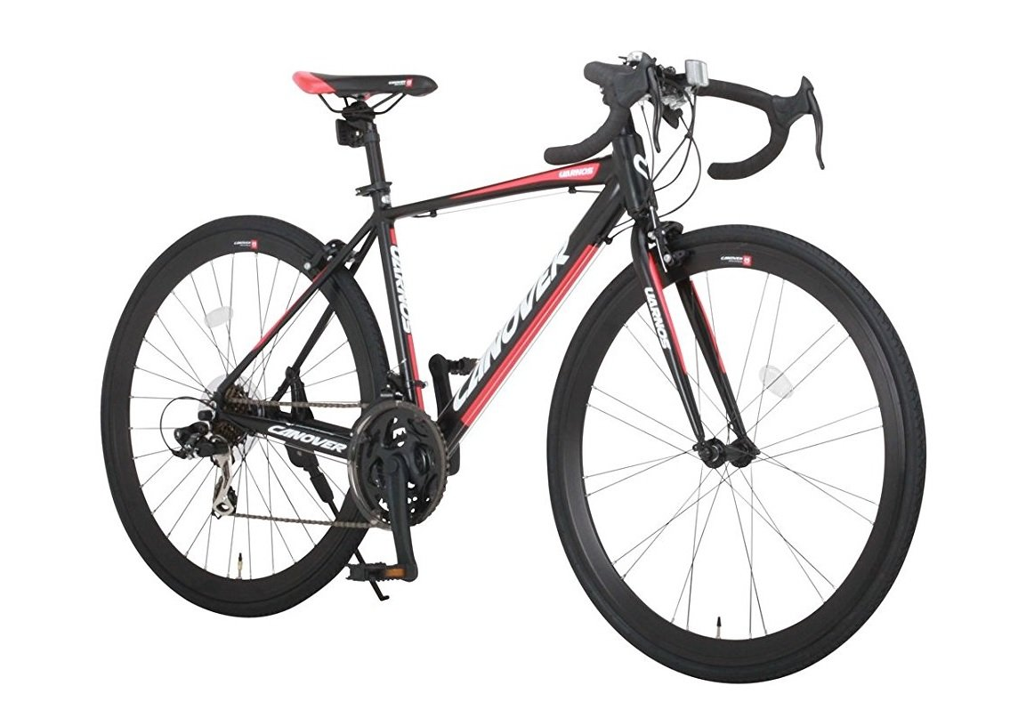 CANOVER(カノーバー) ロードバイク 700C シマノ21段変速 CAR-015(UARNOS) アルミフレーム フロントLEDライト付  [メーカー保証1年]  ブラック B01N36TL5G