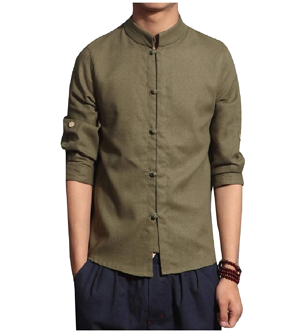 Whitive Mens Chinese Style Stand Collar 3//4 Sleeve Slim Fit Shirt Tops