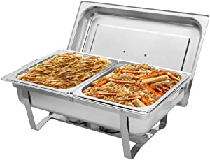 ROVSUN 8 Quart Chafing Dish, Stainless Steel Catering Serve Chafer, Restaurant Food Warmer, Rectangular Buffet Stove with 2 Half Size Food Pans and Foldable Frame for Party (1 Pack)