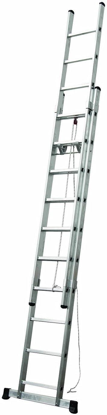 Escalera Industrial Extensible 2 Tramos de Aluminio con Cuerda (2 x 17 Peldaños): Amazon.es: Bricolaje y herramientas
