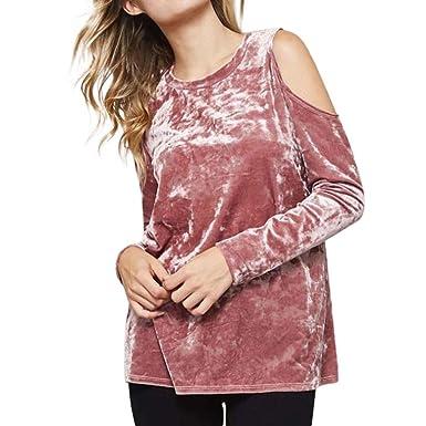 9db7af11c3c011 Velvet Tops Kangrun Women Cold Shoulder Sweatshirt Off The Shoulder Blouse  Fashion Solid Color Tee Long
