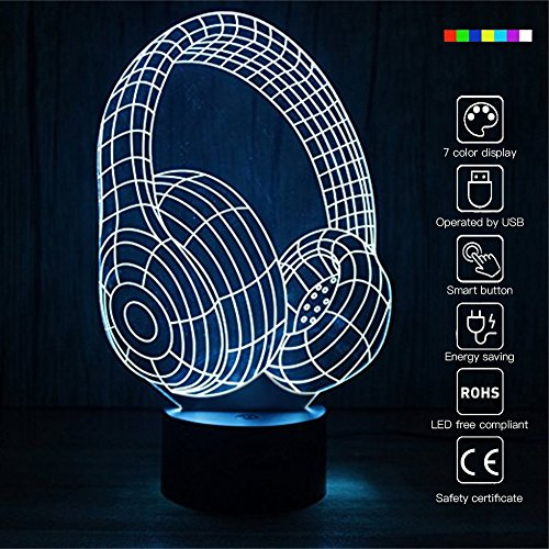 USB Powered 3D Glow LED Night Light 7 Changeable Colors Earphone Design Optical Illusion Lamp Touch Sensor Perfect for Home Party Festival Decor Great Gift Idea (Earphone)