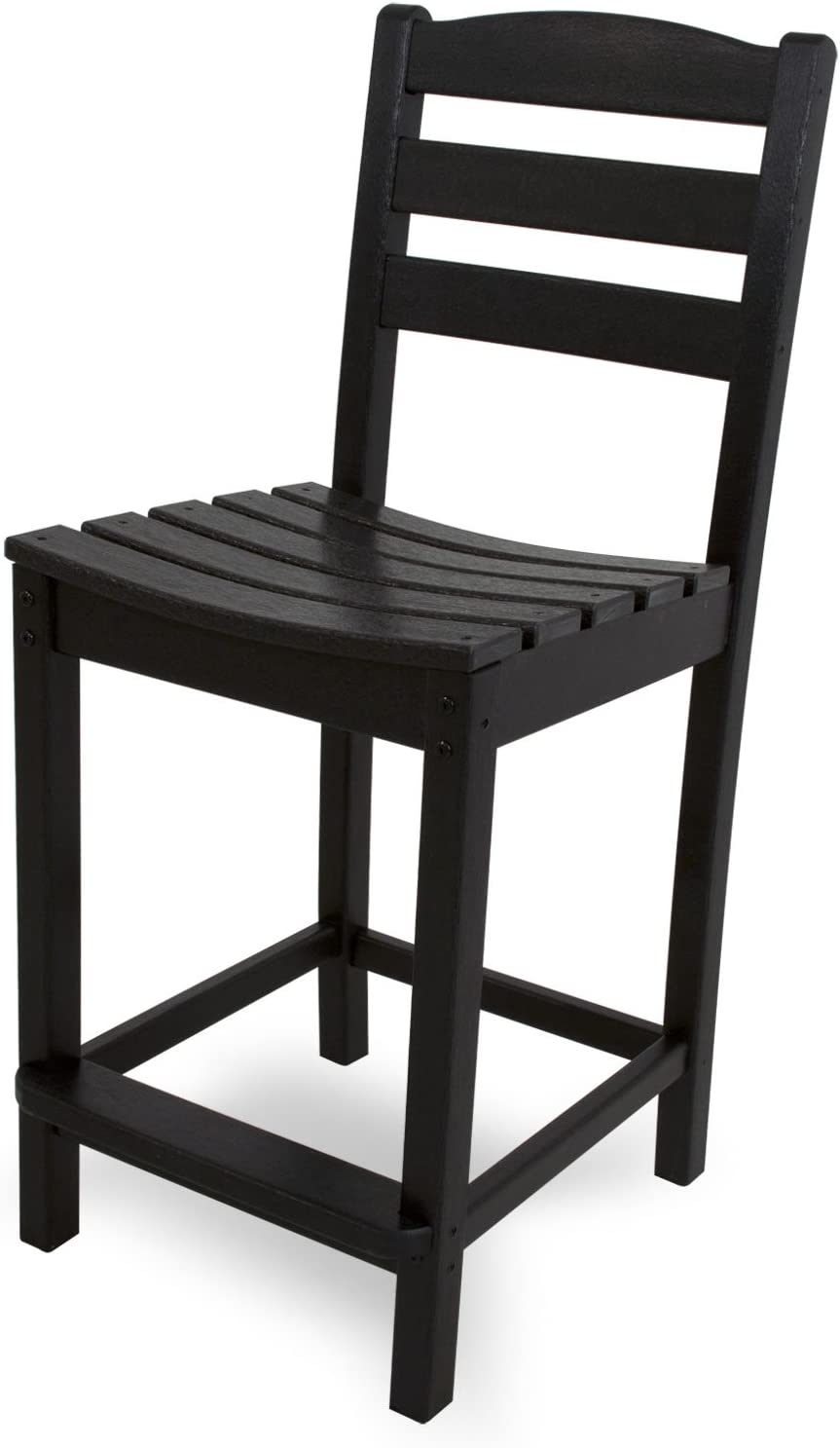 POLYWOOD TD101BL La Casa Caf Counter Side Chair, Black